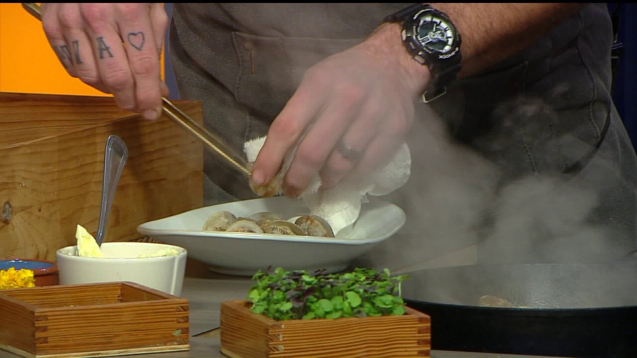 Chef David McClure cooks Tom's Cove Clams and Edwards SurrySausage