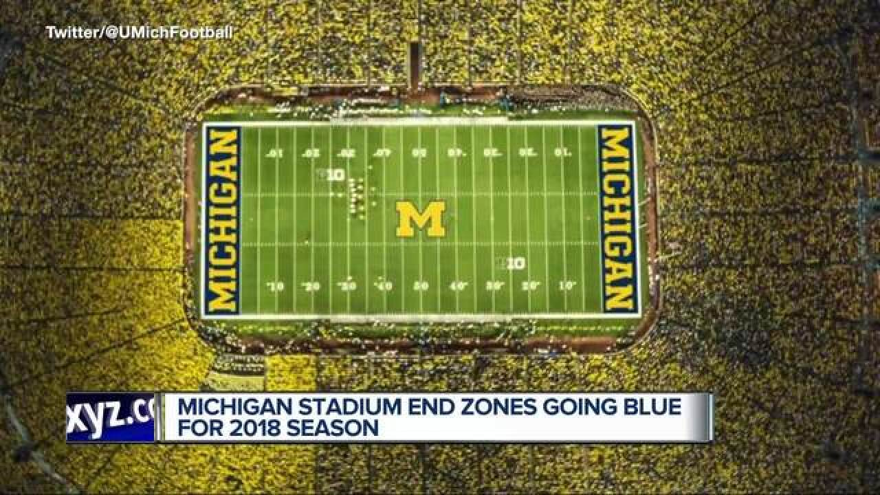 Michigan Stadium end zones going blue in 2018