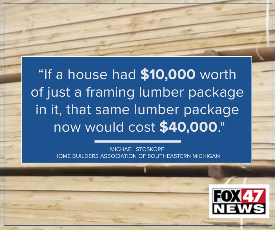 Lumber prices are also heading up to nearly 4 times higher than last year
