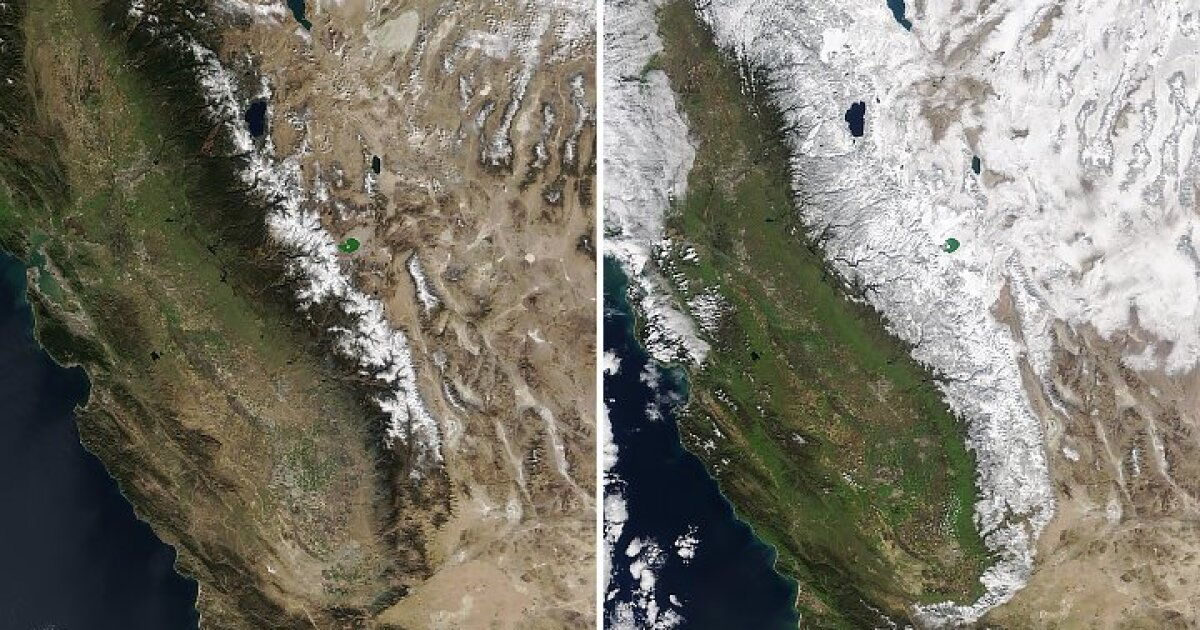 NASA releases incredible satellite look at Sierra snowpack