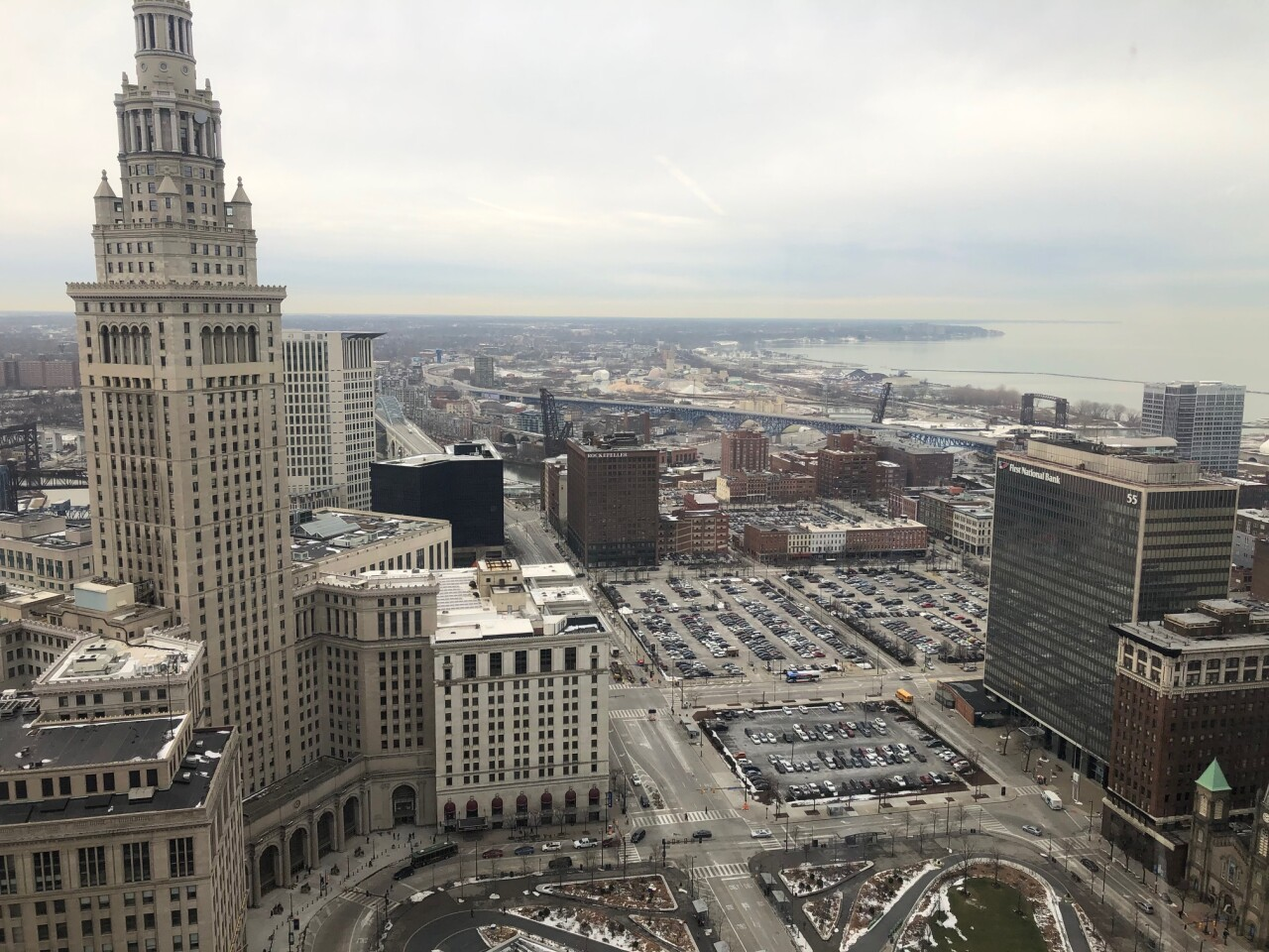 View of Tower City and new site for Sherwin Williams
