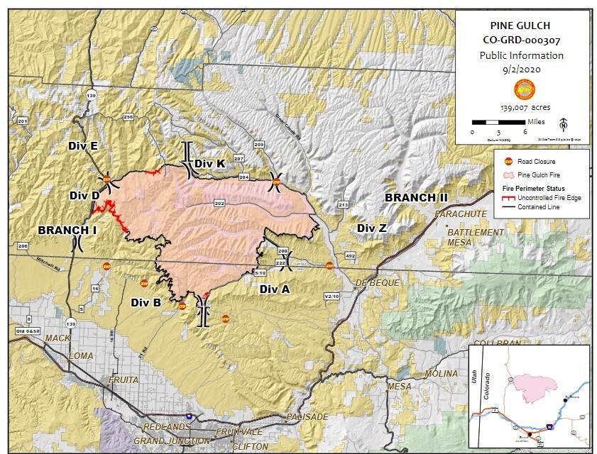 Pine Gulch Fire map_Aug 2 2020