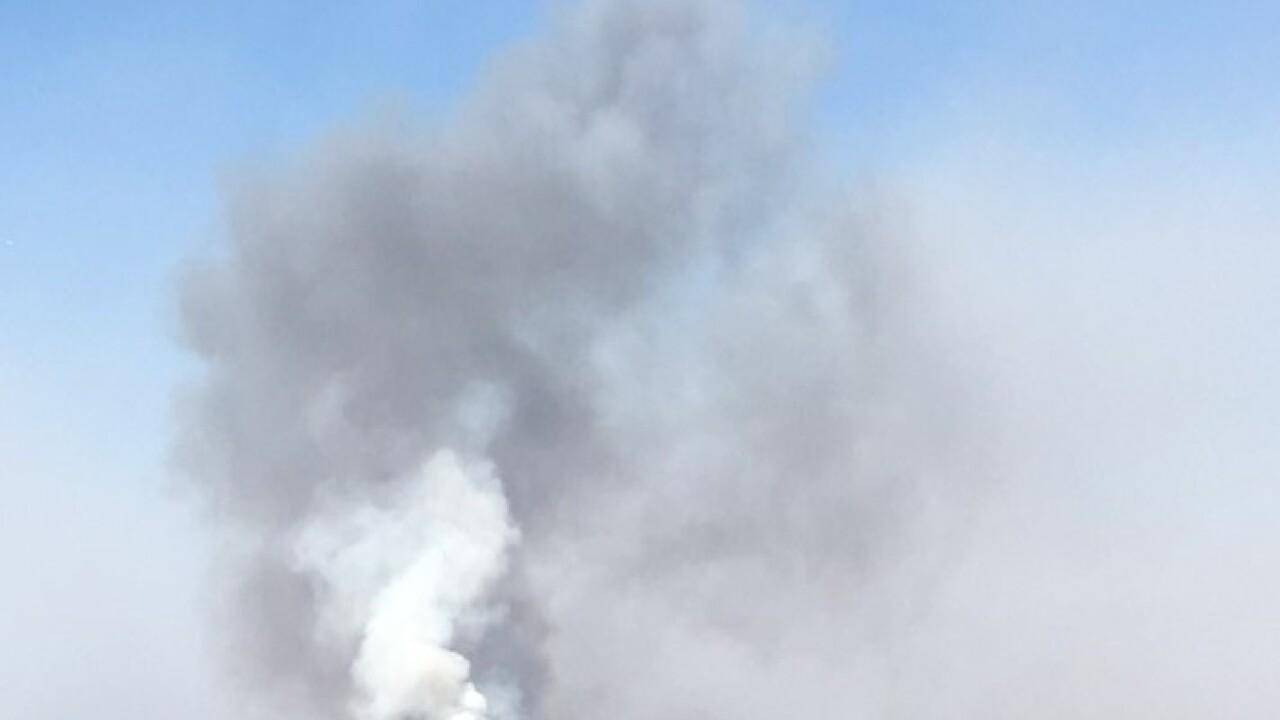 Thursday smoke column on a tiny portion of the fire - Pamela Cooper - Bureau of Indian Affairs.JPG