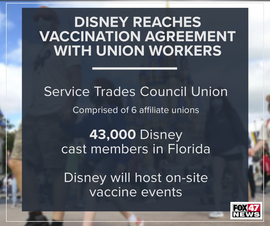 Disney reaches vaccination agreement with union workers