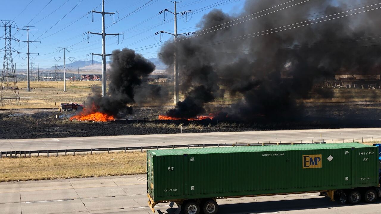 Fires along I-80 in SLC contained; westbound lanes open