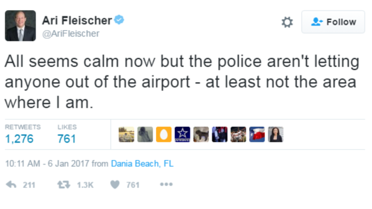 Former WH press sec. Tweets airport shooting