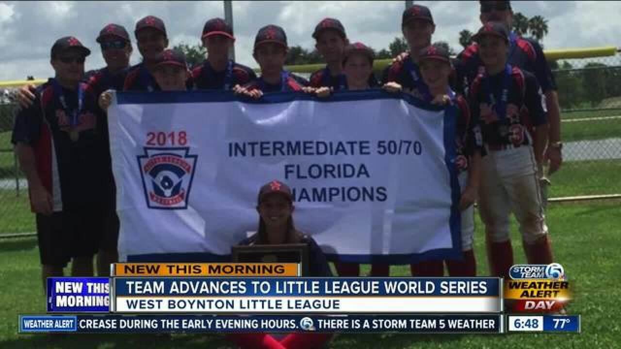 West Boynton Little League team advance to Intermediate 50/70 World Series