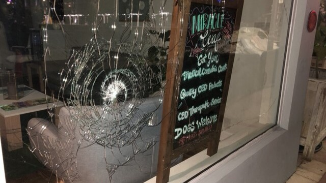 Shattered glass to Clematis Street storefront after violent protest