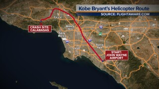 Flight path of helicopter carrying Kobe Bryant, 8 others