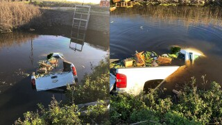 A driver was rescued from a partially submerged truck in a canal Sunday morning near Belle Glade.