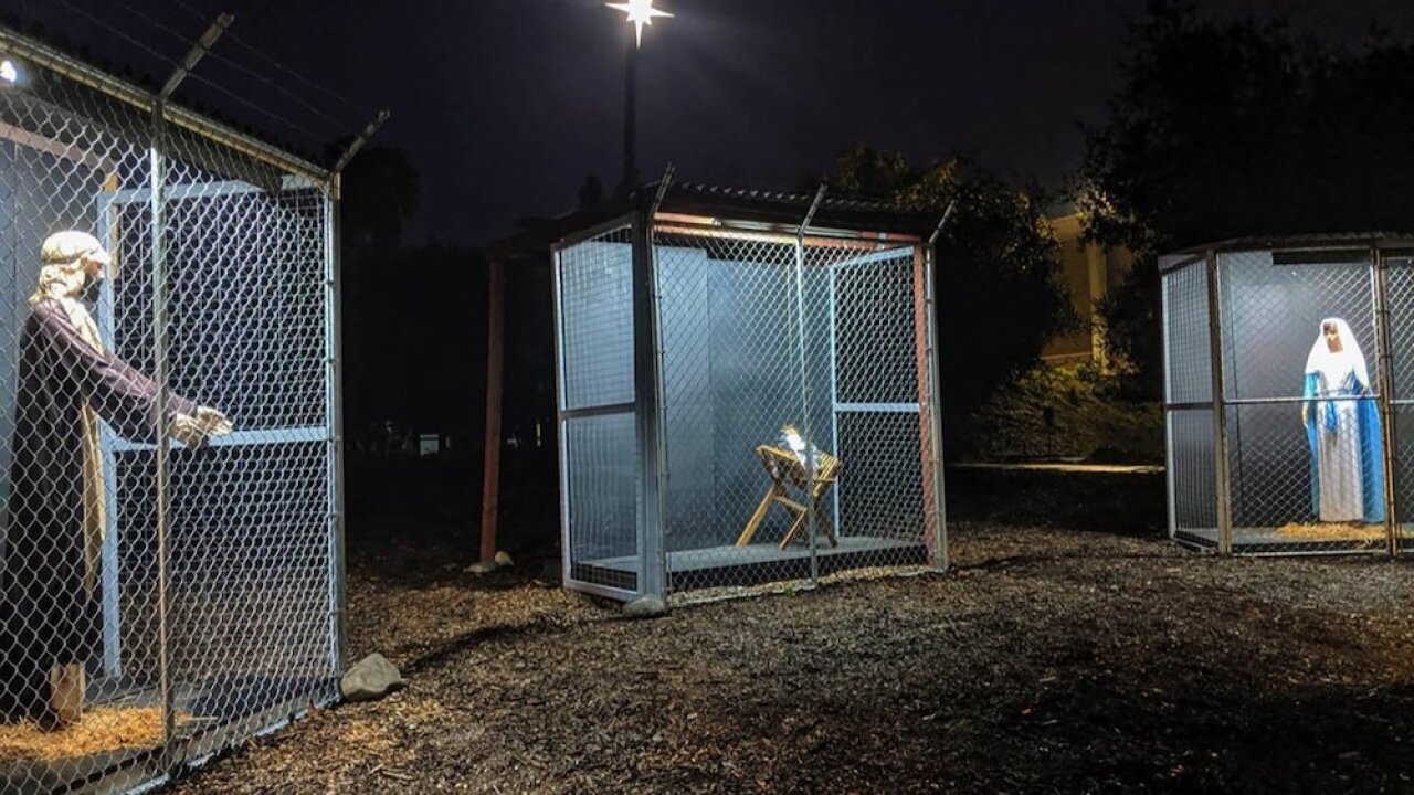 California church's nativity scene shows Jesus, Mary and Joseph locked in separate cages