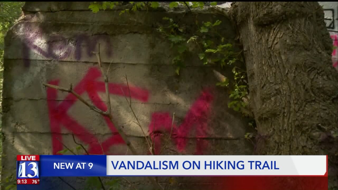Provo Canyon trail vandalized with obscene pictures andwords