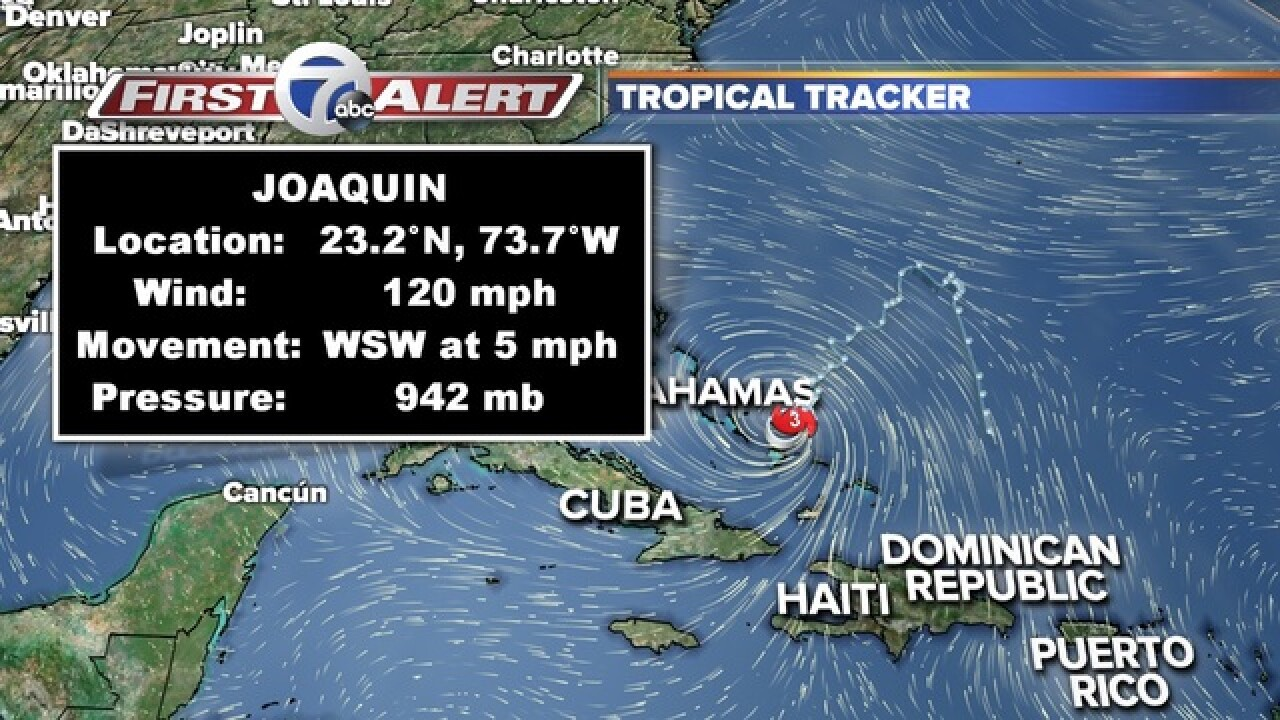 Joaquin now Category 4, track spares U.S. cities