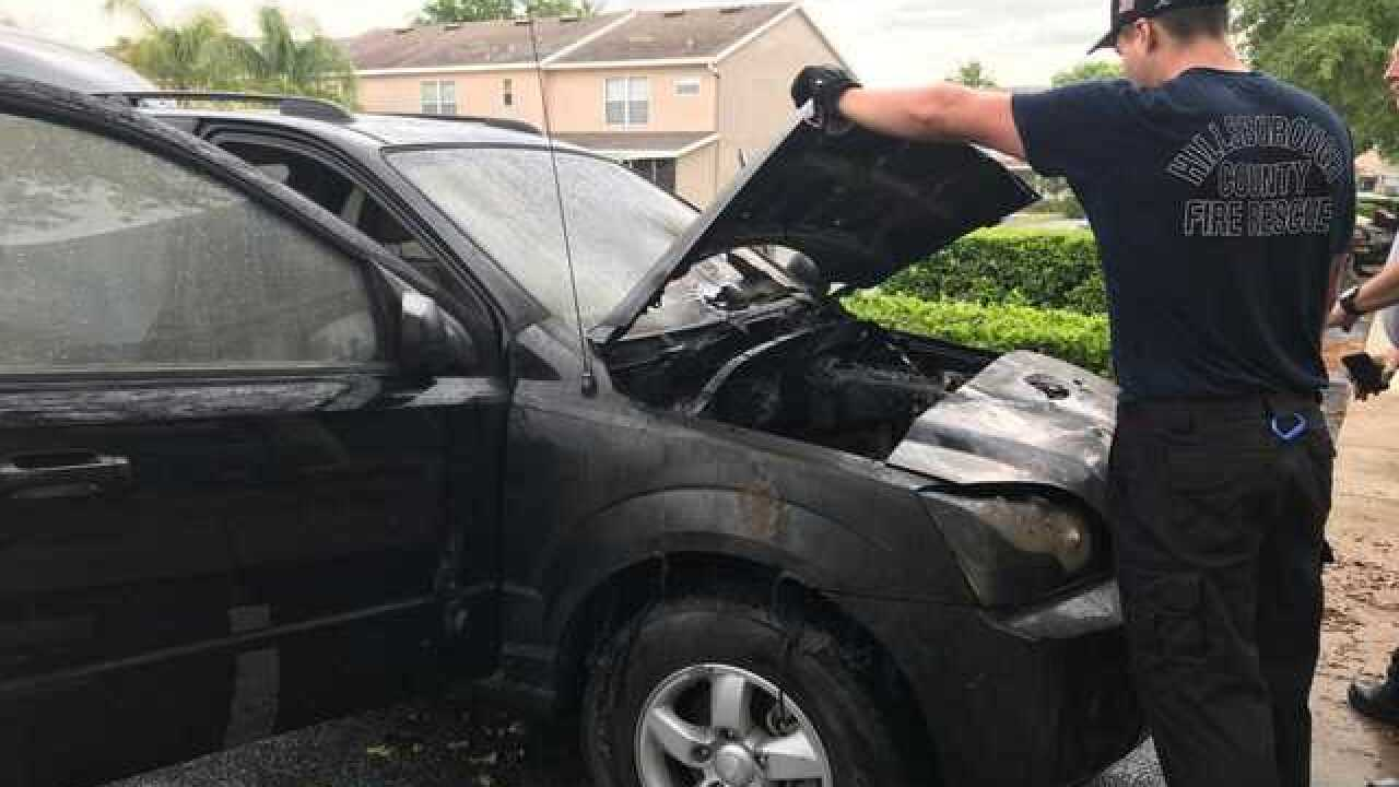 Kia Sorento catches fire in woman's driveway