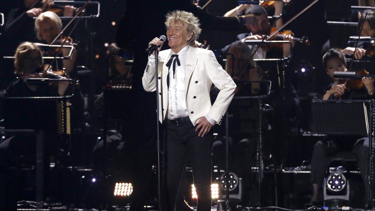 Rod Stewart performs in London in February 2020