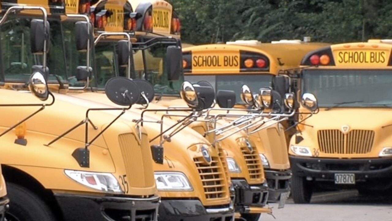 School bus lot in Cincinnati