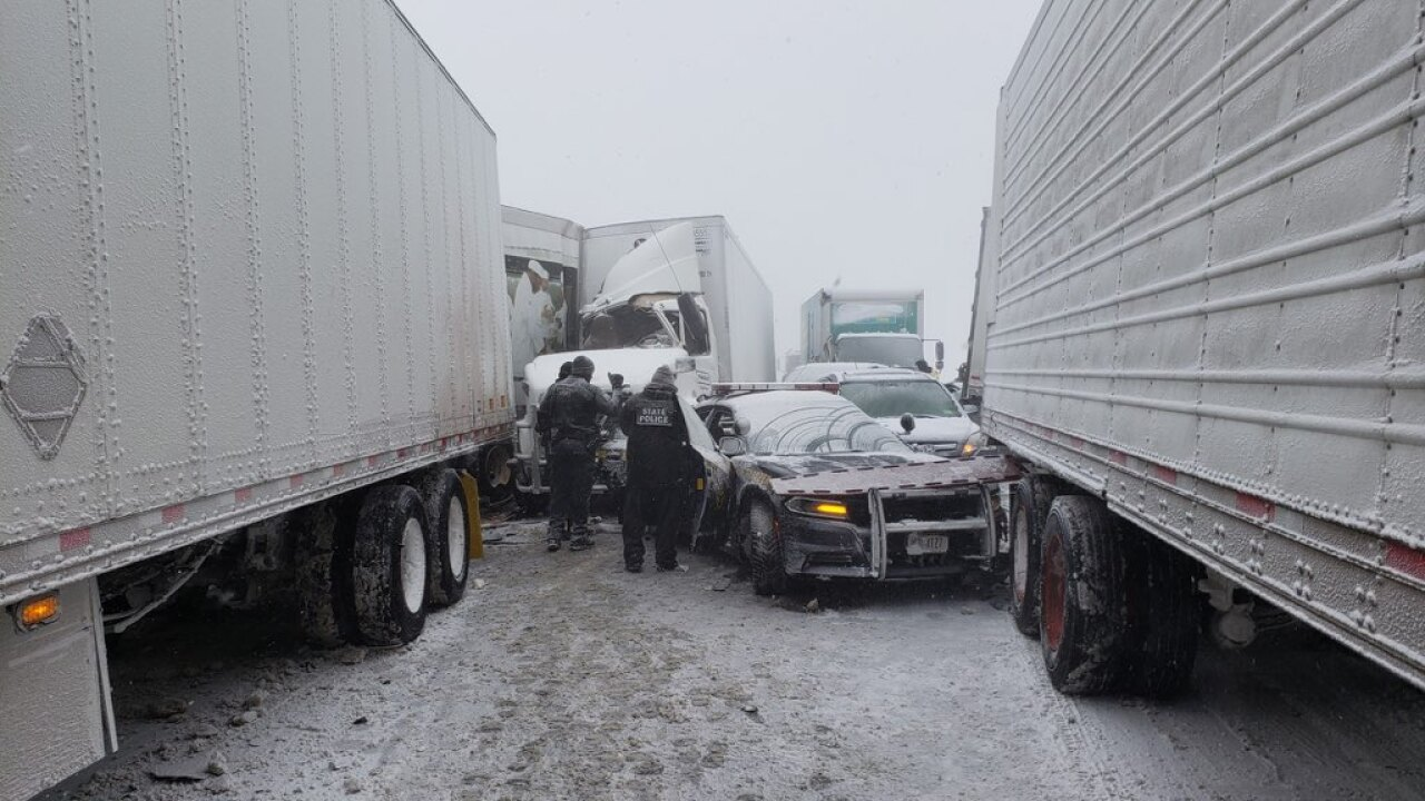 Tractor trailer involved in Thruway pileup