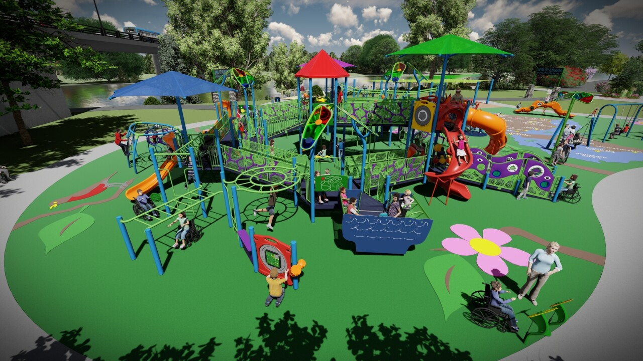 Adado Riverfront Park universally accessible playground