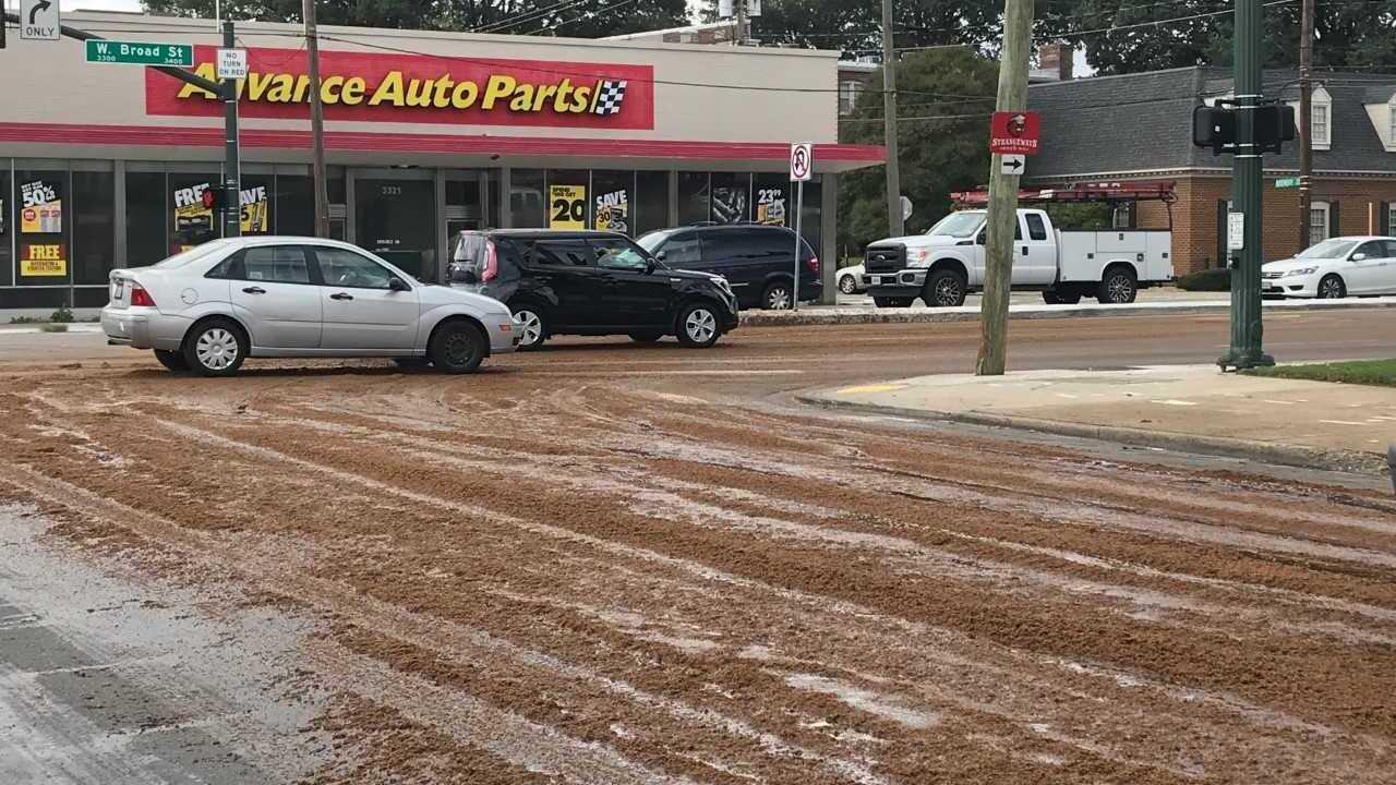 Spent grains spill slows traffic near Scott's Additionintersection