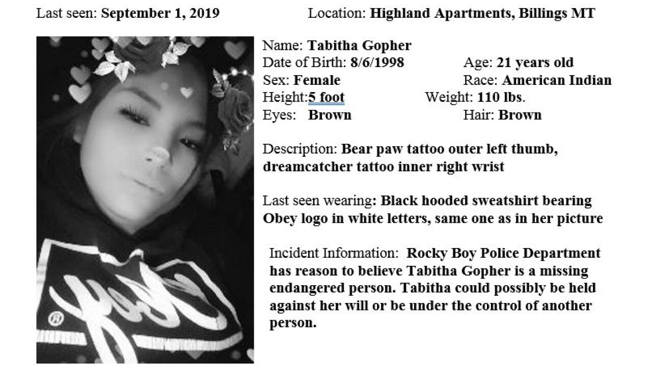 Missing-Endangered Person Advisory issued for Tabitha Gopher