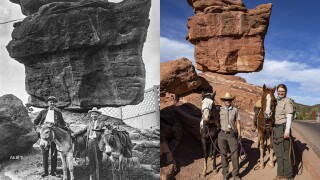 "Balanced Rock ""then and now"""