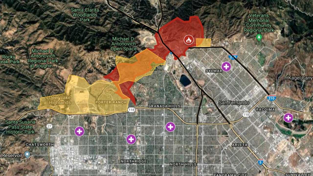 interactive map: saddleridge fire forces evacuations in