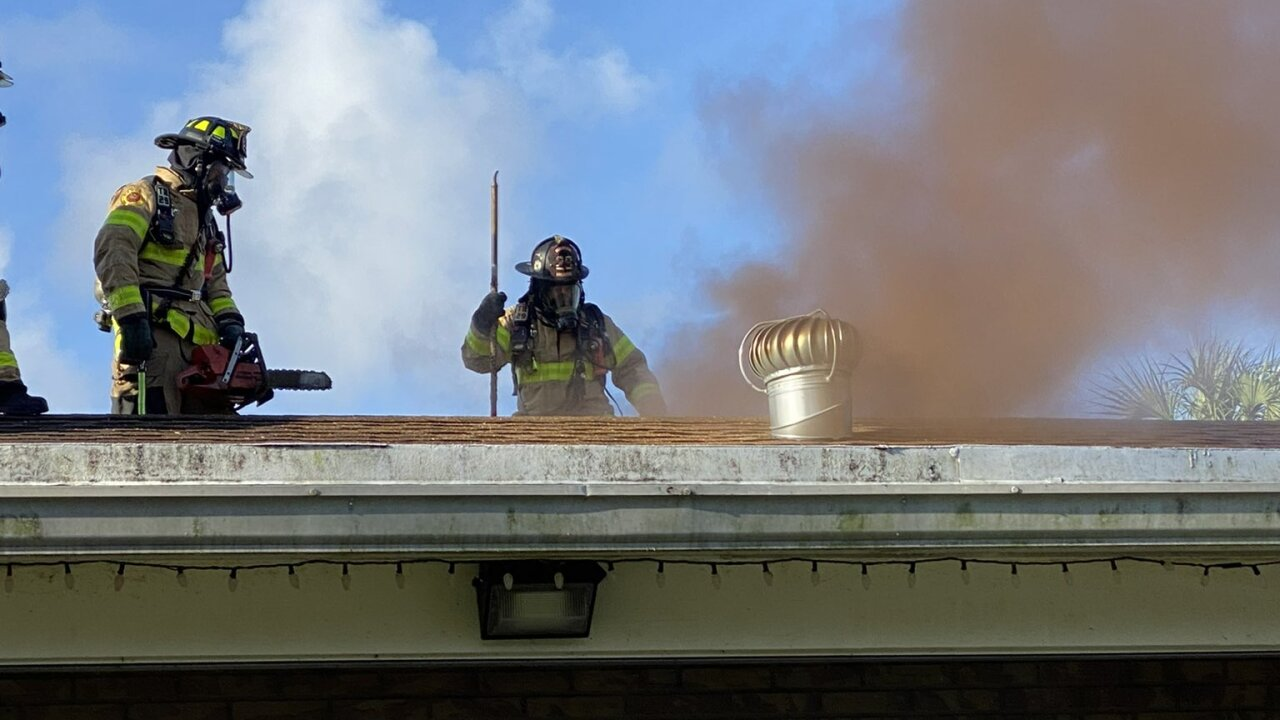 Three people were affected by a house fire in West Palm Beach Saturday morning.