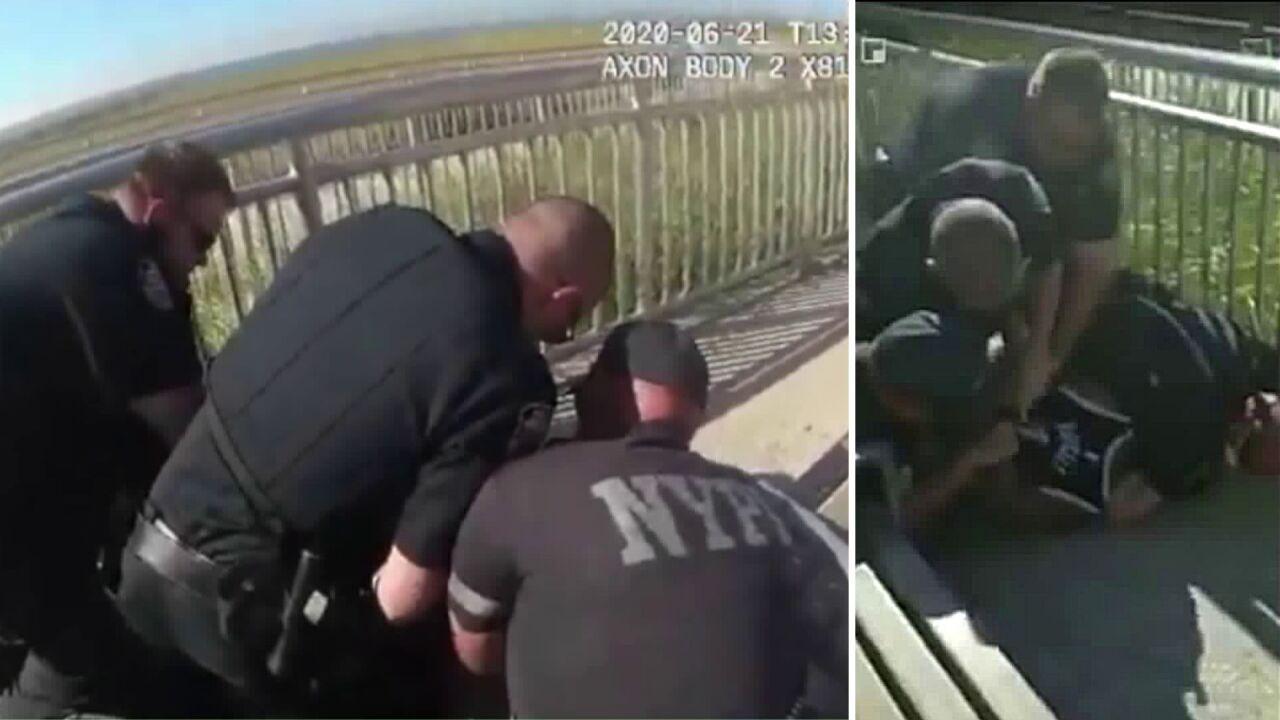 Video stills of a Queens chokehold arrest involving Officer David Afanador