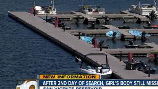 Second day of searching ends for girl in lake