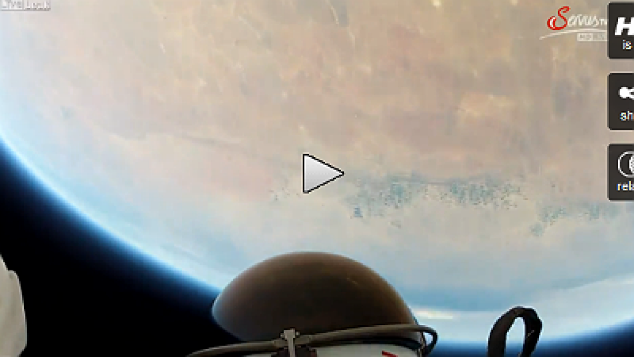 Video: Helmet cam shows record skydive from space