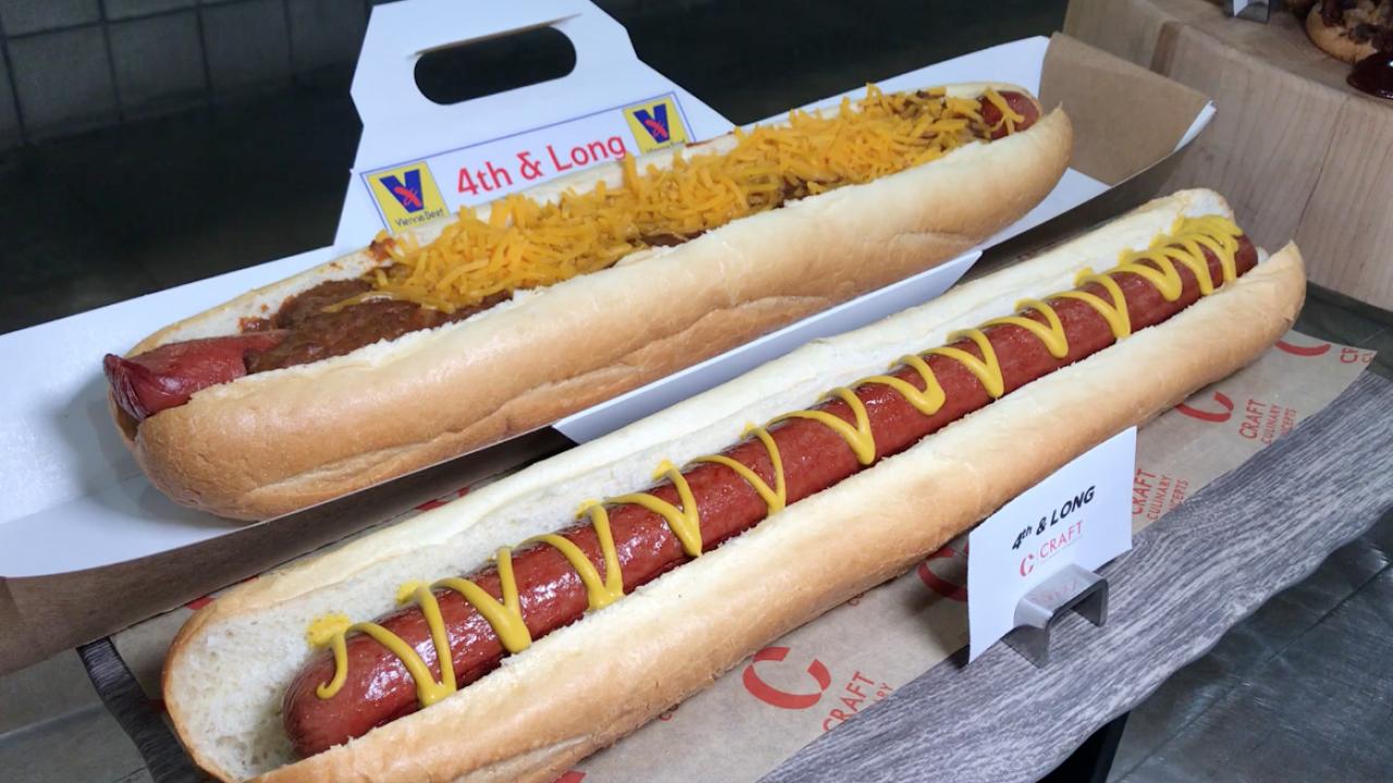Arizona Cardinals 4th and Long hot dog