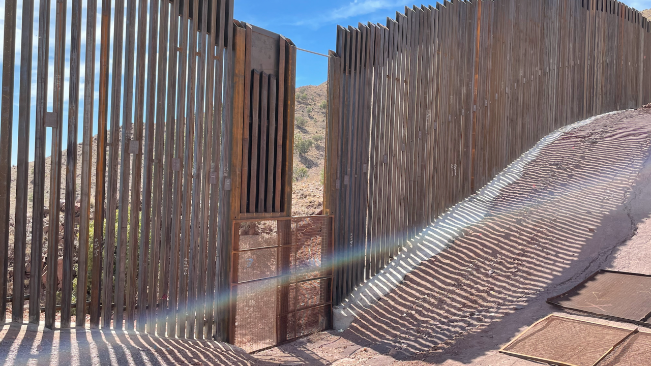 Hole in border wall in Cochise County