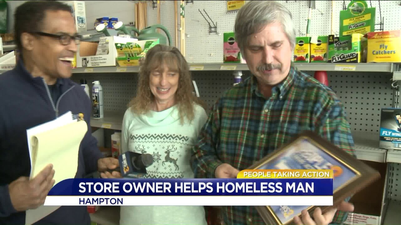 People Taking Action: Local hardware store owner helps homeless man in the bittercold!