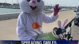 Easter bunny spotted around town on motorcycle with pup by his side