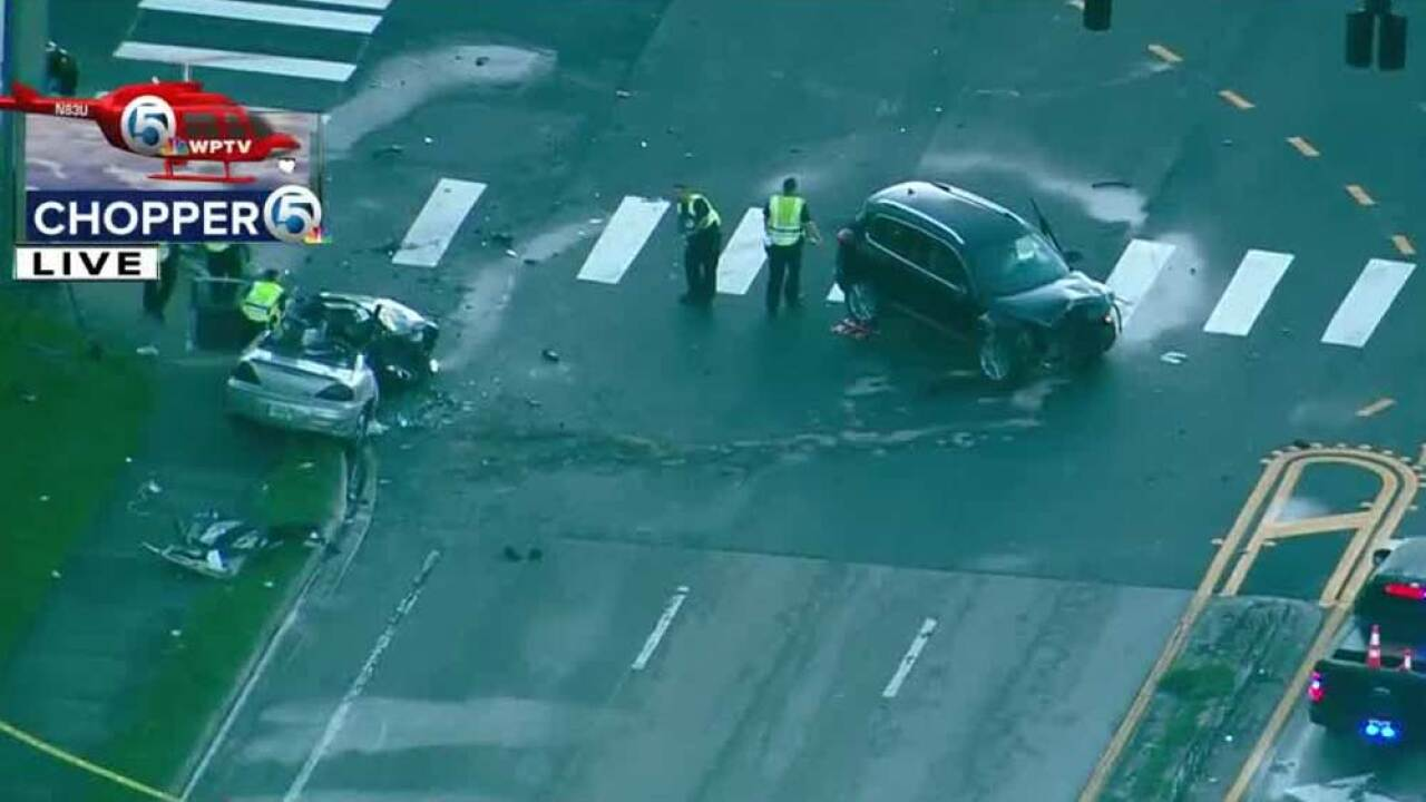 Three people were hurt in a two-vehicle crash at the intersection of Hypoluxo and Lawrence roads in Boynton Beach on Feb. 27, 2019.