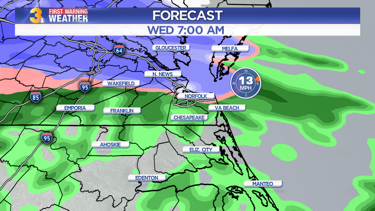 Tuesday's First Warning Forecast: Snow and rain moving in