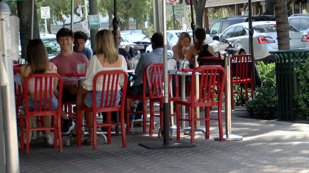 Outdoor seating in Delray Beach