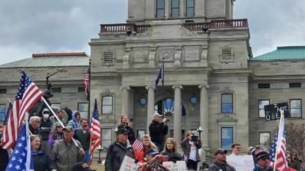 Montanans rally at the capitol to reopen the state