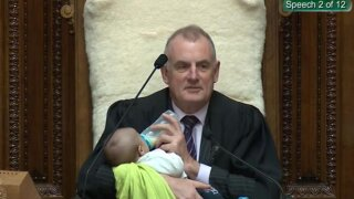 New Zealand speaker feeds lawmaker's baby during debate in Parliament
