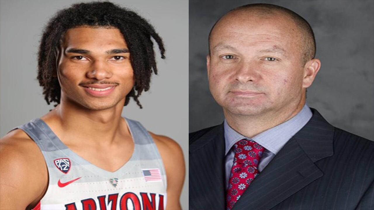 Arizona hoops suspends coach, player