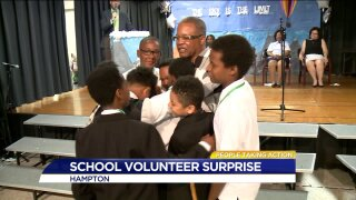 People Taking Action: volunteer surprised on last day of school!