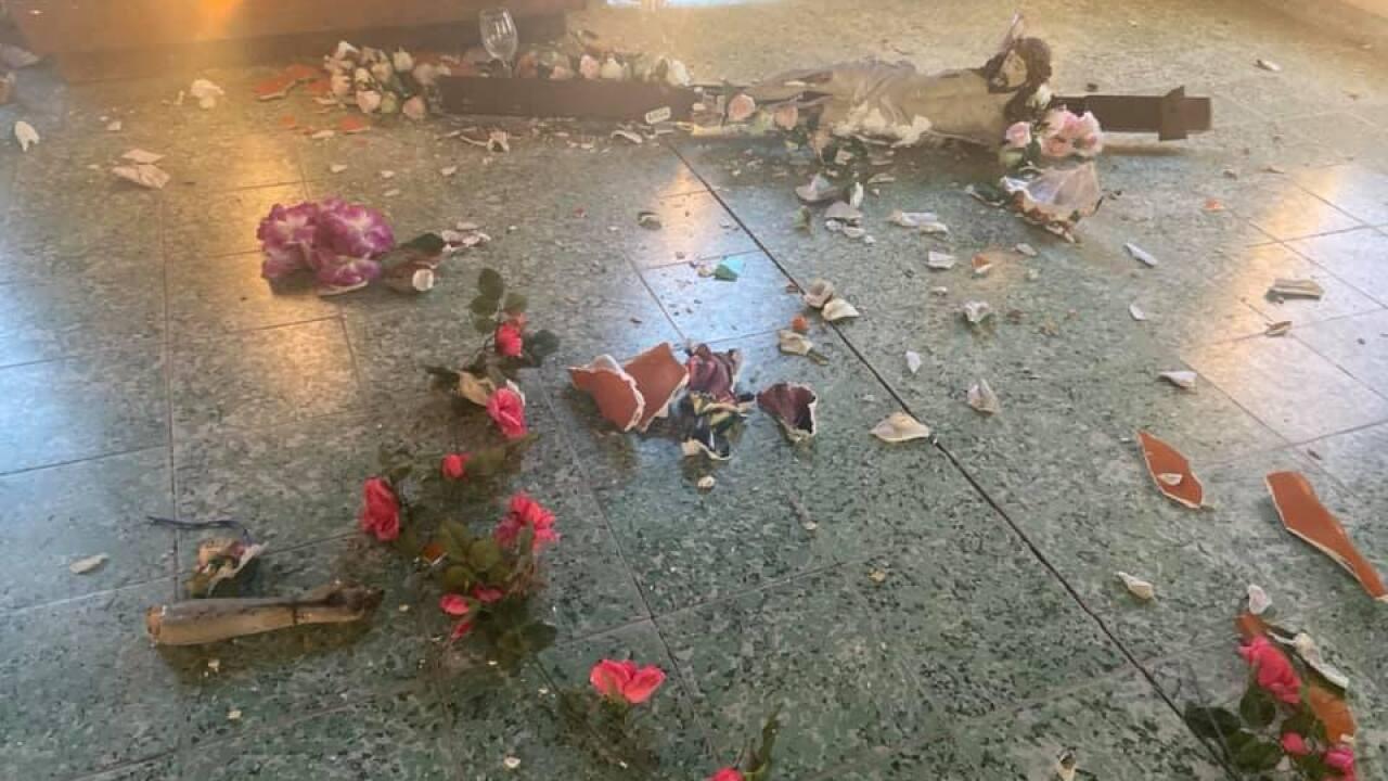 Defacement of religious items at the Don Pedrito Jaramillo Shrine in Falfurrias.