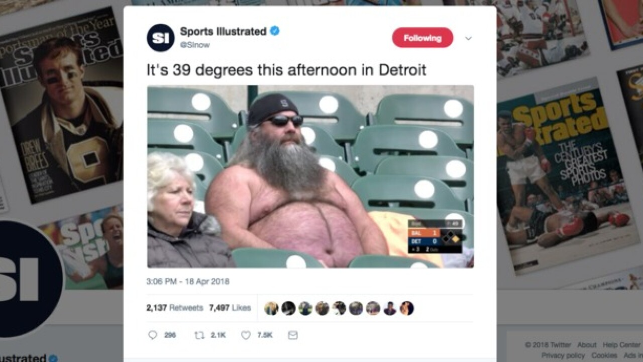 Shirtless Detroit Tigers fan who goes by 'Chewbacca' goes viral after picture