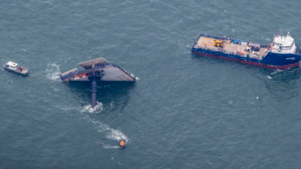 A Seacor Power lift boat sits in the Gulf of Mexico about 8 miles from the coast near Port Fourchon, La., Sunday, April 18, 2021. The Seacor Power lift boat capsized in the Gulf of Mexico on Tuesday after a storm, leaving 4 dead, 9 missing and 6 rescued. (Photo by Sophia Germer, NOLA.com, The Times-Picayune | The New Orleans Advocate) STAFF PHOTO BY SOPHIA GERMER