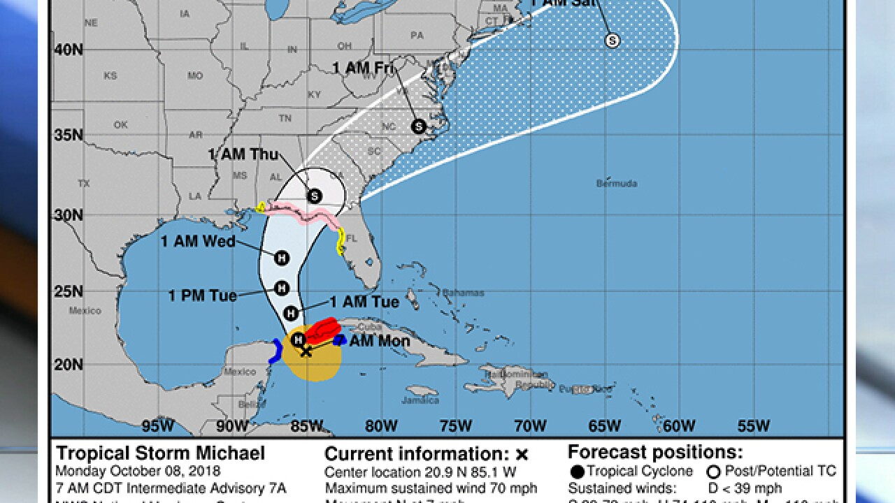 Still far off, Michael a growing menace to Florida Panhandle