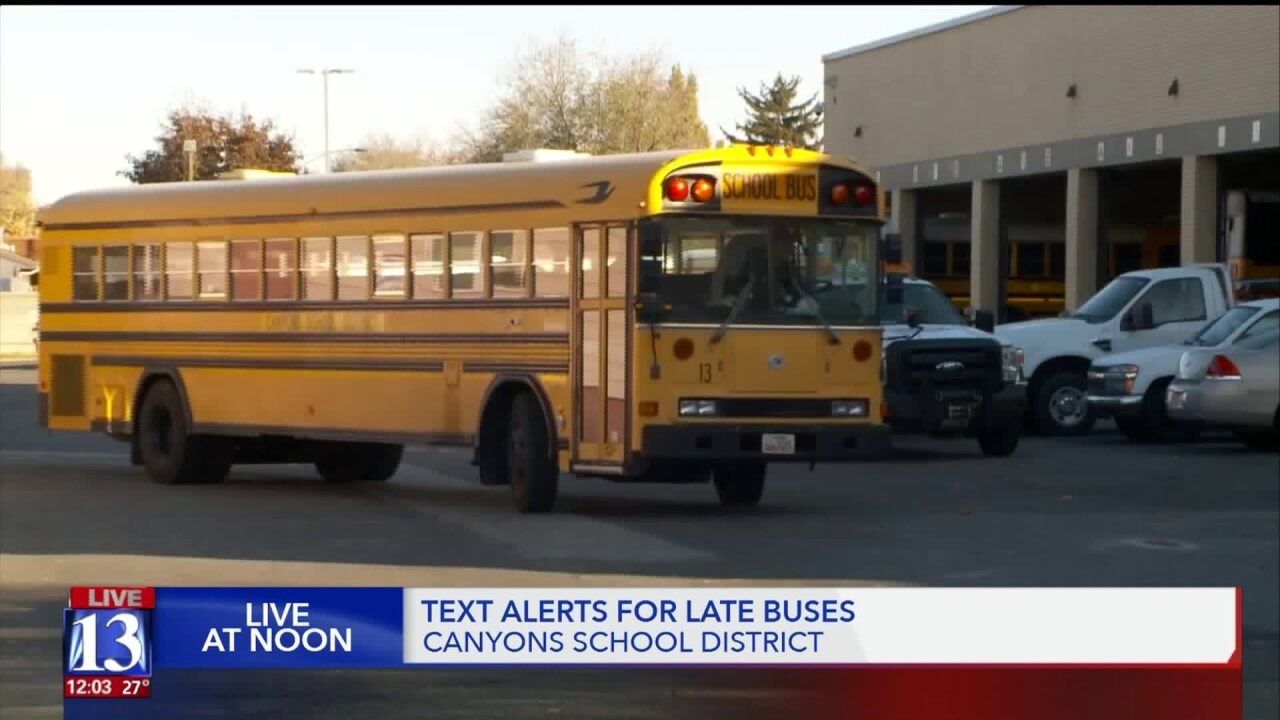Utah school district will alert parents if buses aredelayed