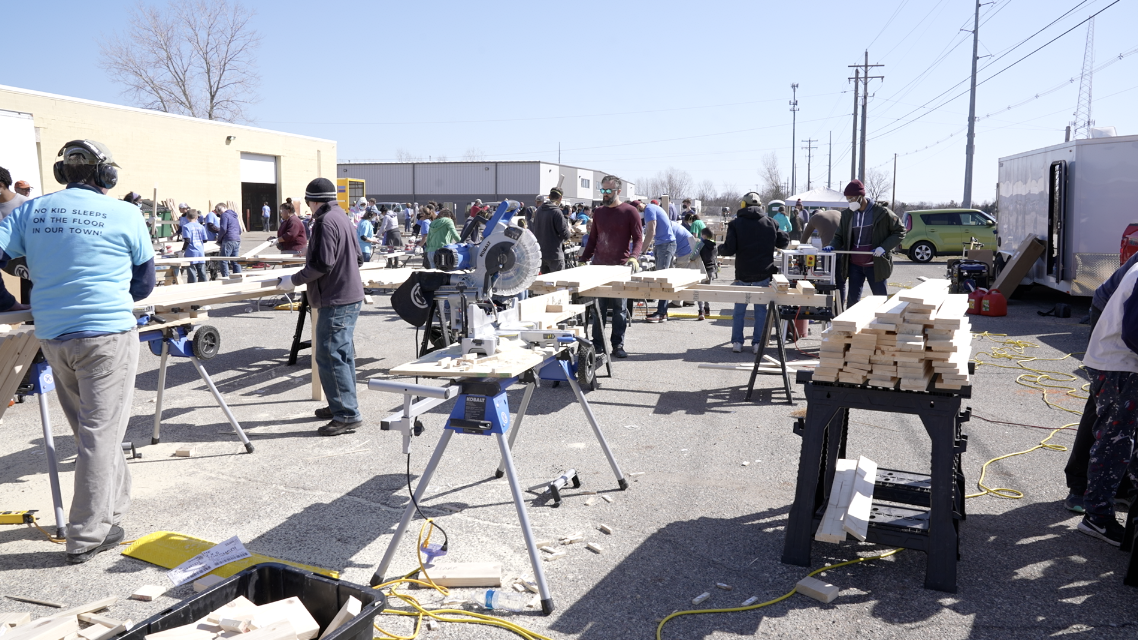 Sleep in Heavenly Peace record-breaking bed-building event, all hands on deck