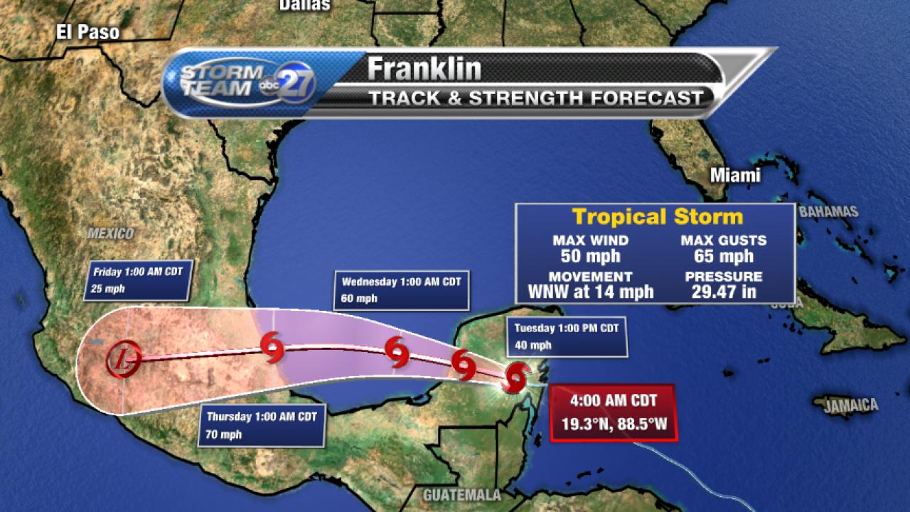 Tropical Storm Franklin 5am Forecast Track (08/08/2017)