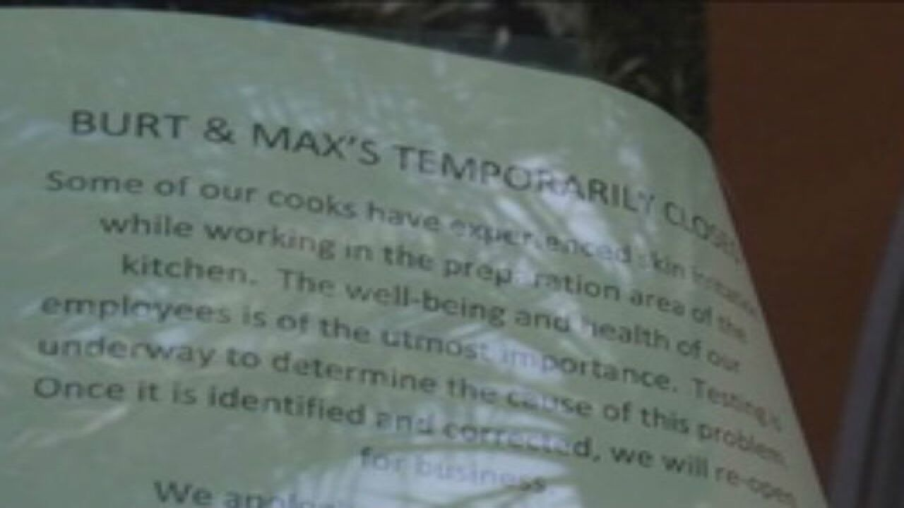 Burt & Max's closed until air quality tests done