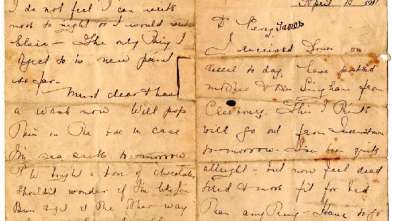 SD-bound Titanic survivor letter up for auction